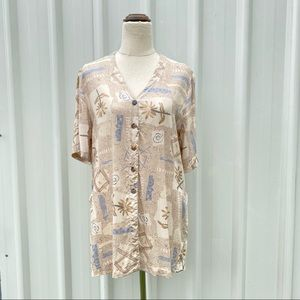 Suzannegrae Vintage V-neck Shirt Blouse Size 14 Cream Tan Graphic Button Down